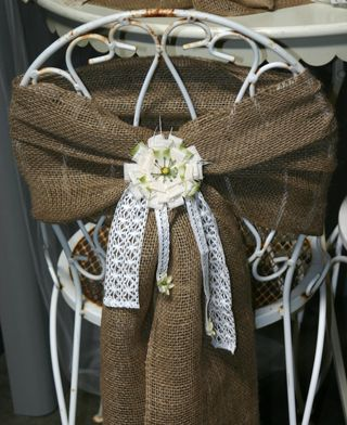 Burlap vintage chair tie back