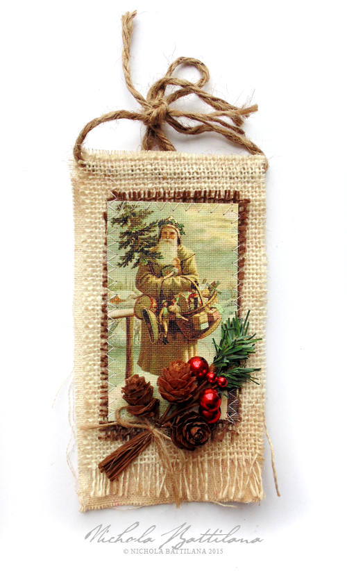 Rustic burlap tags w/ Canvas Corp and Petaloo ~ Nichola Battilana