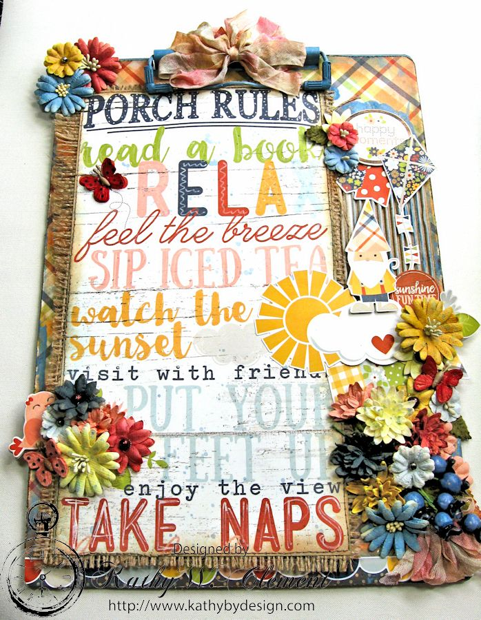 Porch Rules Altered Clipboard  by Kathy Clement Petall Simple Stories Blog Hop Bloom and Grow 02