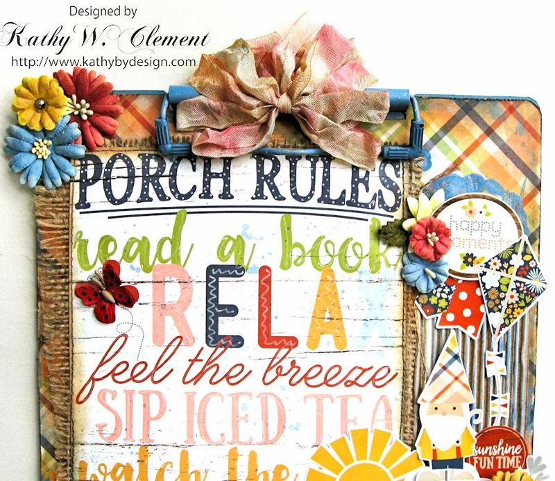 Porch Rules Altered Clipboard  by Kathy Clement Petall Simple Stories Blog Hop Bloom and Grow 07