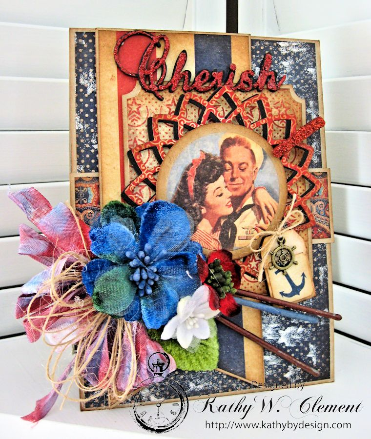 Cherish 4th of July card by Kathy Clement fo Really Reasonable Ribbon Summer Flowers Challenge Product Authentique Honor 02