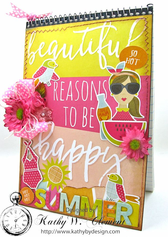 Beautiful Reasons to be Happy Alered Journall by Kathy Clement for Petaloo Summer Fun with Kids Product by Petaloo and Simple Stories Photo 1