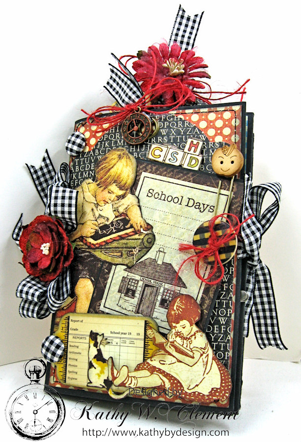 Back to School Mini Album, ABC Primer, By Kathy Clement, Product by Petaloo and Graphic 45 Photo 2