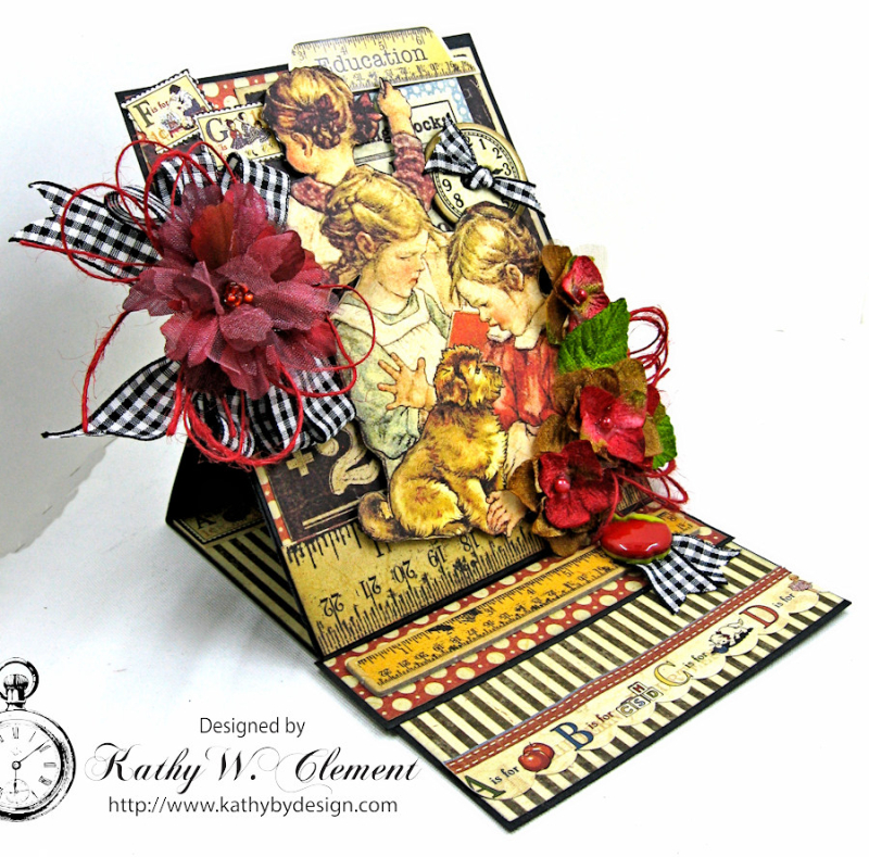 Back to School Easel Card by Kathy Clement, ABC Primer, Product by Petaloo and Graphic 45, Photo 5