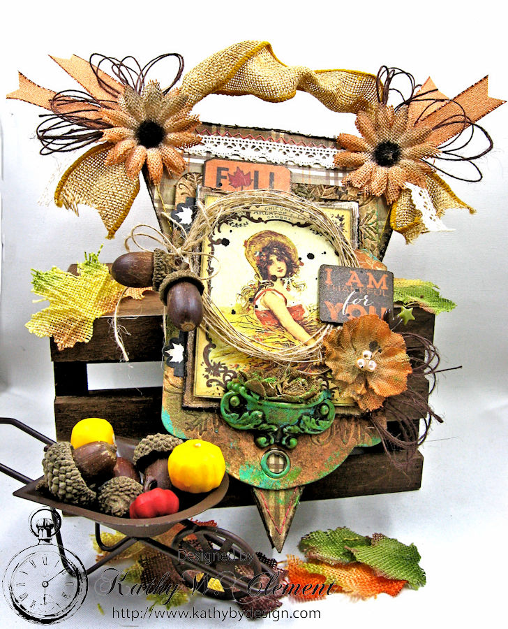 Thankful for You Fall Wall Hanging, Harvest, by Kathy Clement for Petaloo, Product by Authentique and Petaloo, Photo 1