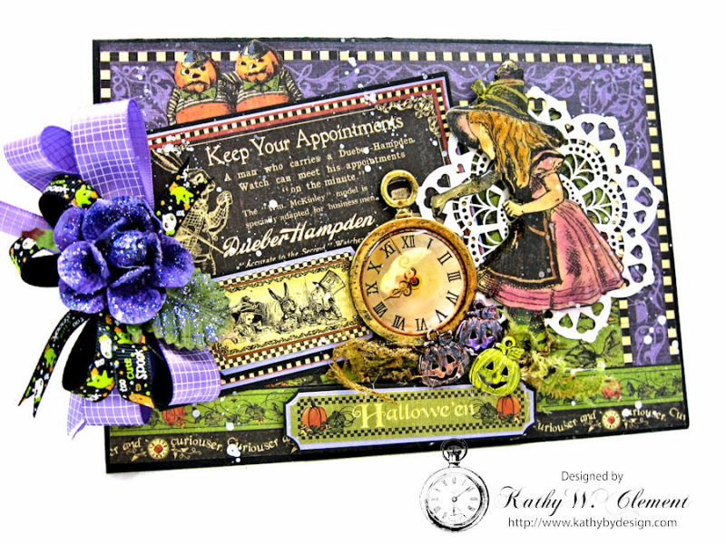 Halloween Time Card, Halloween in Wonderland, by Kathy Clement for Really Reasonable Ribbon, Product by Graphic 45, Photo 1