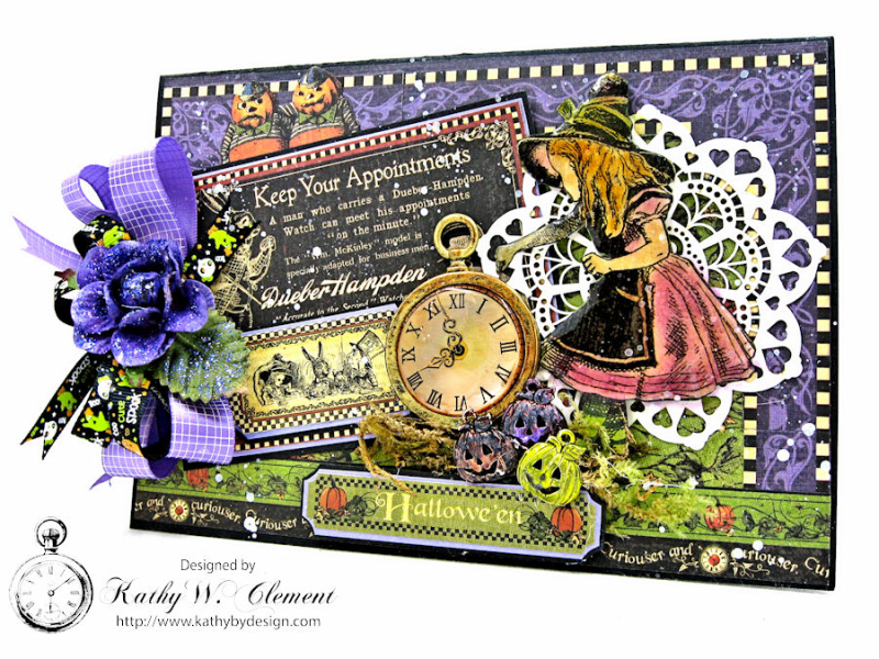 Halloween Time Card, Halloween in Wonderland, by Kathy Clement for Really Reasonable Ribbon, Product by Graphic 45, Photo 2