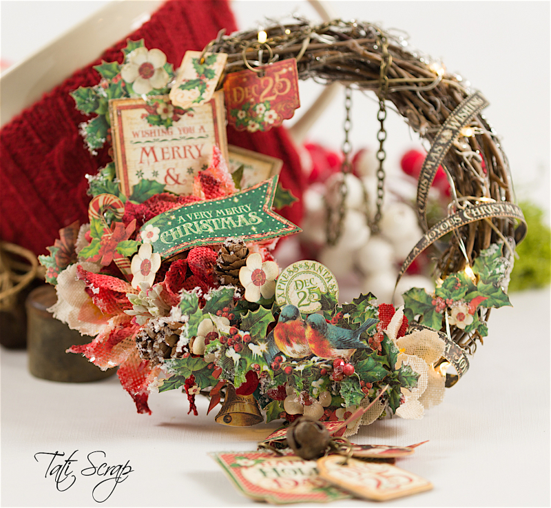 Tati, Christmas Wreath, Product by Petaloo & Graphic 45, Photo 5