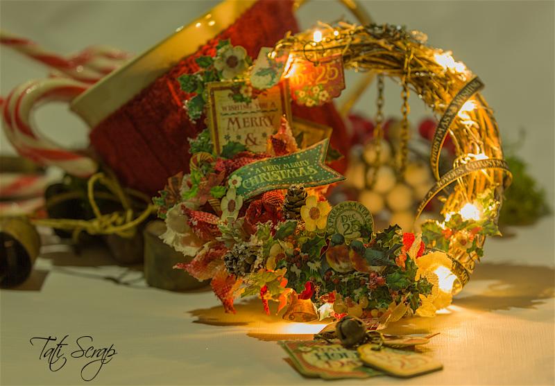 Tati, Christmas Wreath, Product by Petaloo & Graphic 45, Photo 7