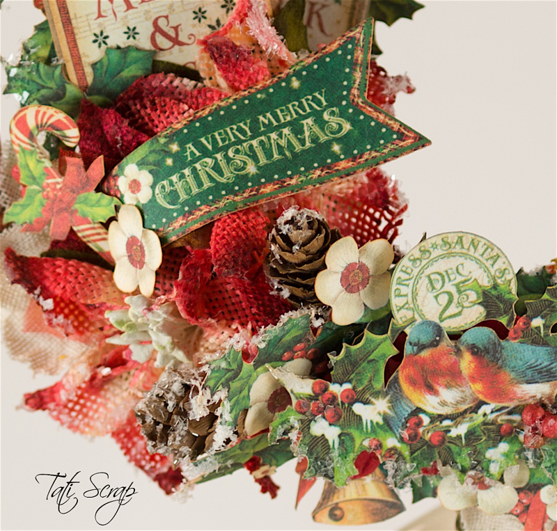 Tati, Christmas Wreath, Product by Petaloo & Graphic 45, Photo 9