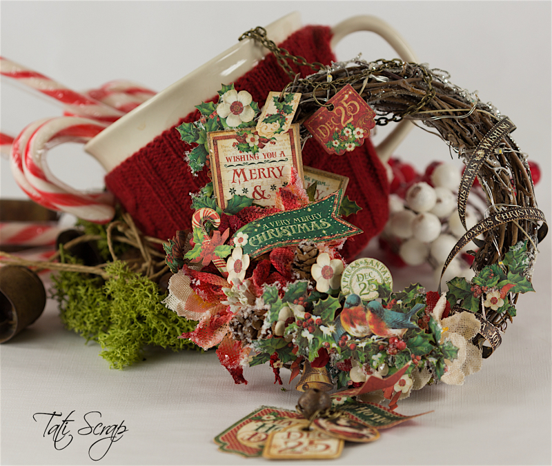 Tati, Christmas Wreath, Product by Petaloo & Graphic 45, Photo 10