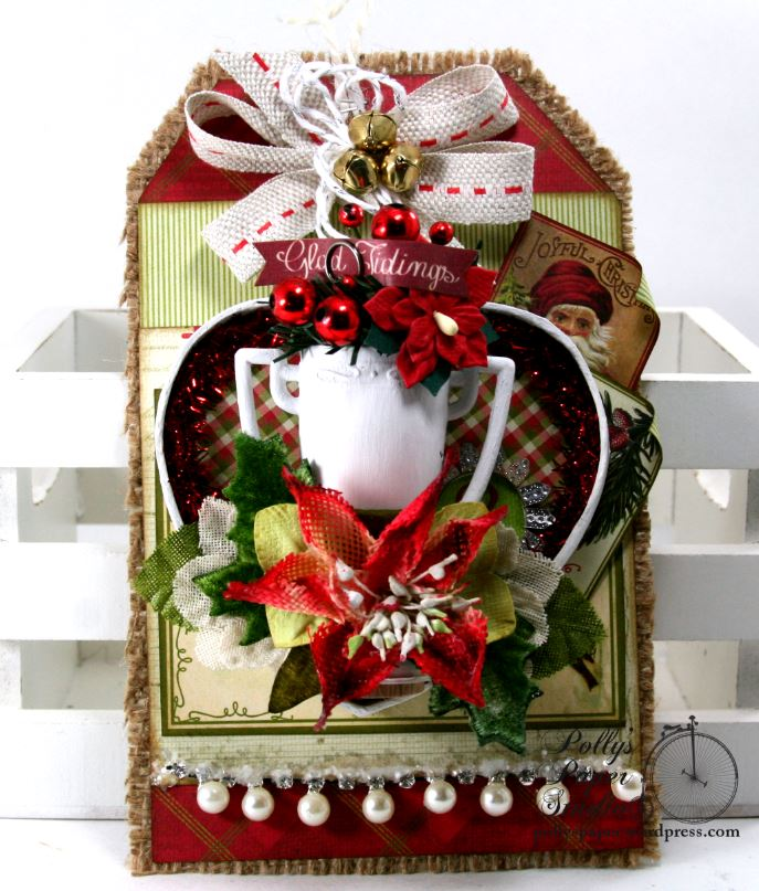Glad Tidings Trophy Shadow Box Tag Christmas Home Decor Polly's Paper Studio 01