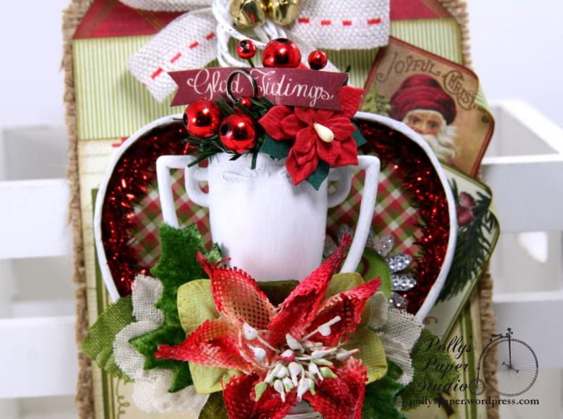 Glad Tidings Trophy Shadow Box Tag Christmas Home Decor Polly's Paper Studio 03