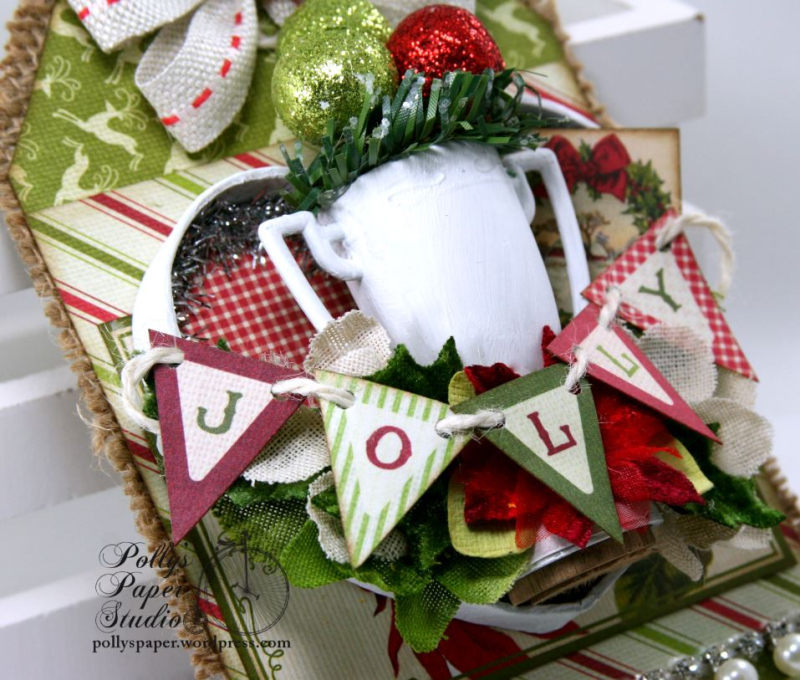 Jolly Trophy Shadow Box Christmas Tag Holiday Home Decor Polly's Paper Studio 02