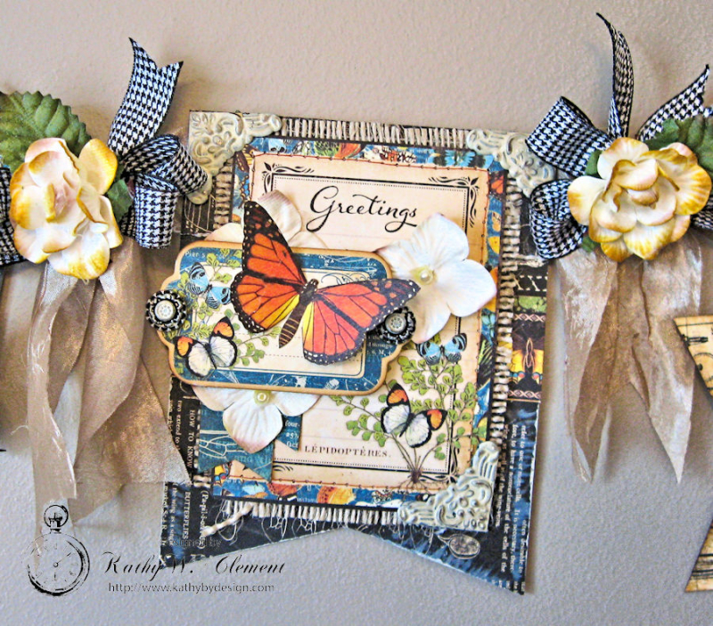 CHA Butterfly Banner, Nature Sketchbook, by Kathy Clement, Product by Petaloo and Graphic 45, Phioto 3