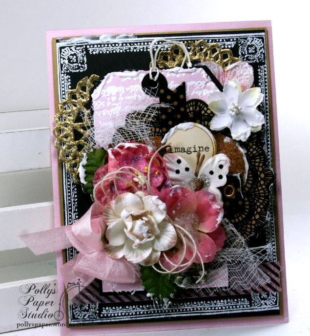 Imagine Butterfly Shabby Chic Greeting Card Polly's Paper Studio 01