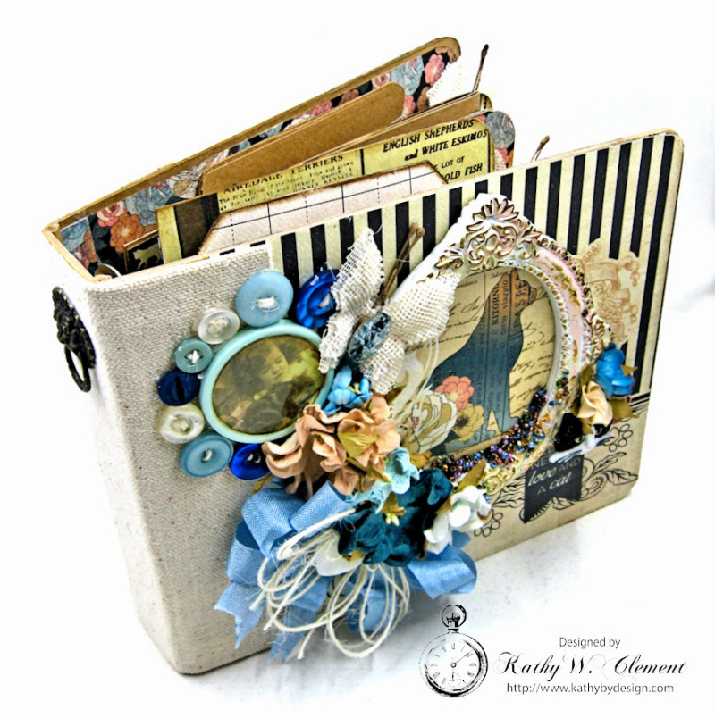 Shabby Chic Cat Mini Album by Kathy Clement Photo 3