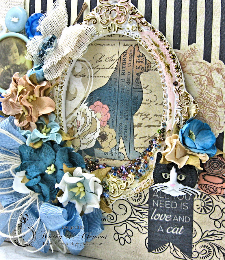 Shabby Chic Cat Mini Album by Kathy Clement Photo 5