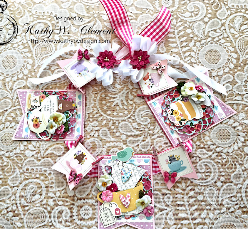 Pebbles Tea Party Banner by Kathy Clement for Petaloo International Photo 1