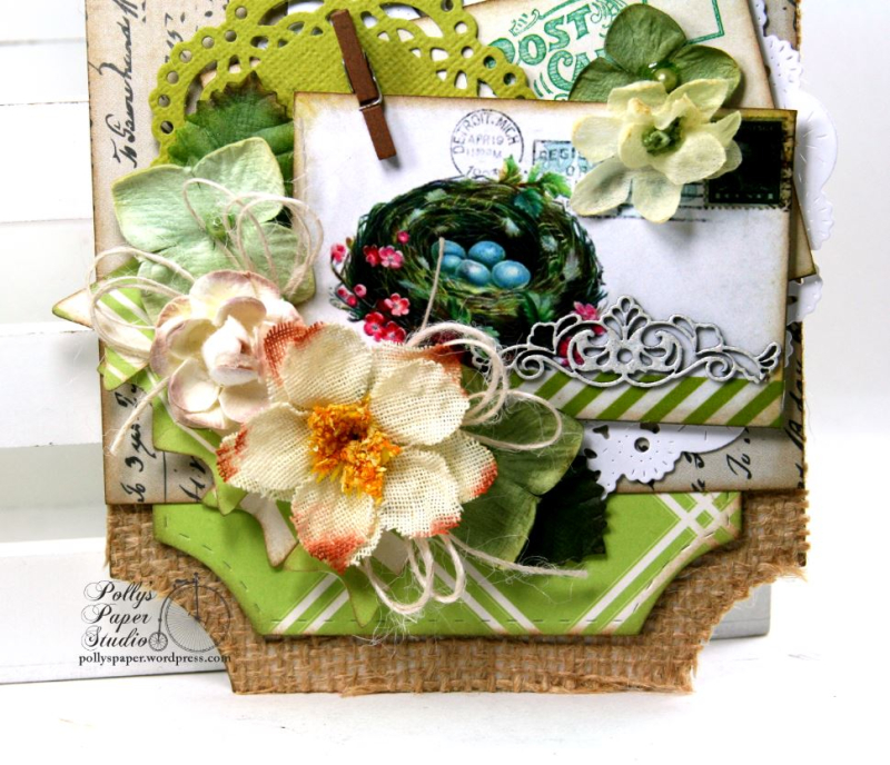 Spring Tag Nest w pink flowers & Blue Eggs Holiday Home Decor Polly's Paper Studio 02