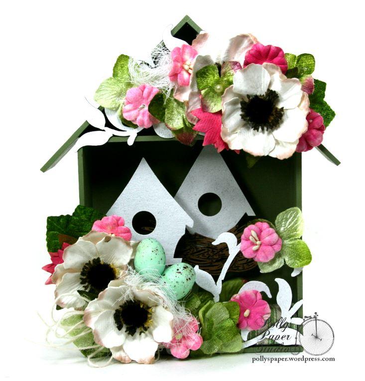 Spring  Birdhouse Shadow Box Polly's paper Studio 01