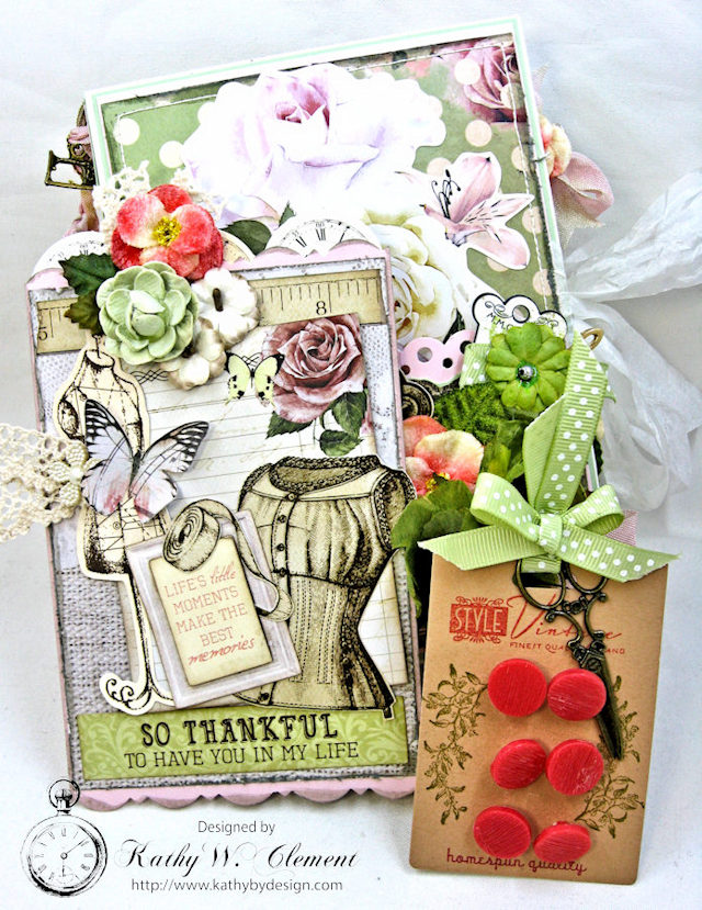 Vintage Style Sewing Themed Folio Mademoiselle by Kathy Clement Product by Kaisercraft and Petaloo Photo 5