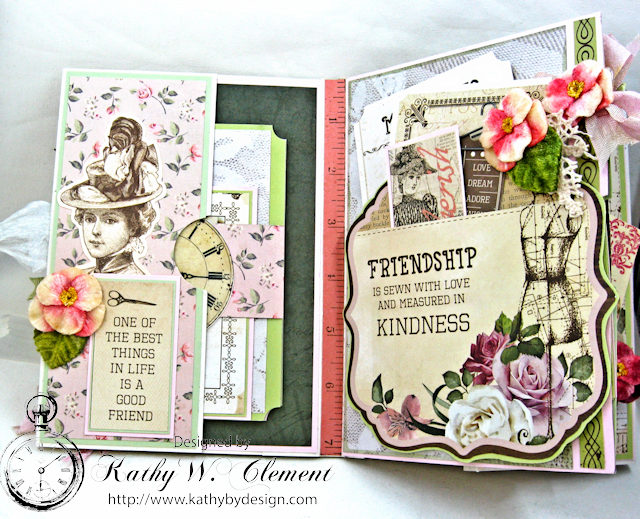 Vintage Style Sewing Themed Folio Mademoiselle by Kathy Clement Product by Kaisercraft and Petaloo Photo 9