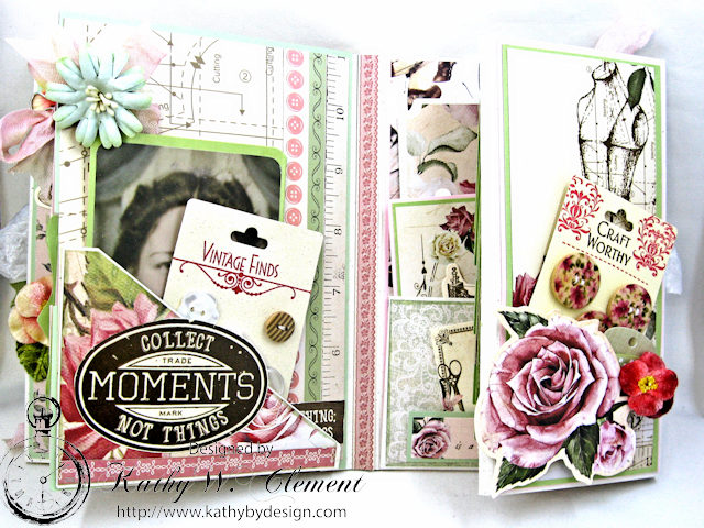 Vintage Style Sewing Themed Folio Mademoiselle by Kathy Clement Product by Kaisercraft and Petaloo Photo 13