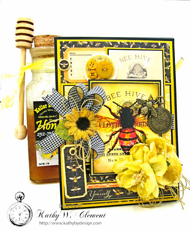 Bee Yourself Honeybee Greeting Card Nature Sketchbook by Kathy Clement Product by Graphic 45 Photo 2