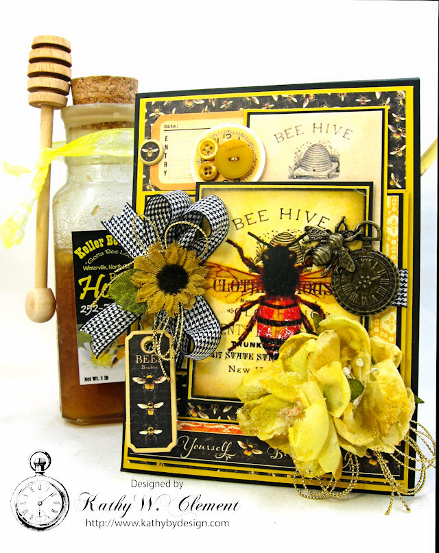 Bee Yourself Honeybee Greeting Card Nature Sketchbook by Kathy Clement Product by Graphic 45 Photo 3