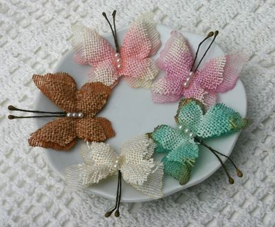 Burlap Butterflies MIXED COLORS