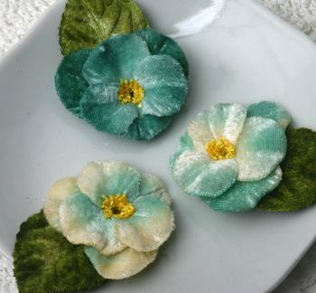 Velvet Pansies TEAL x 3 smaller email