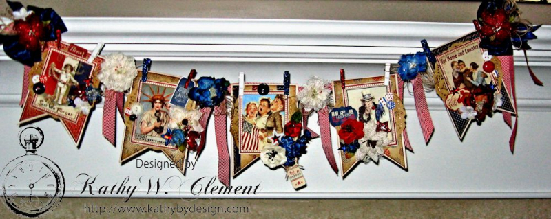 4th of July Banner by Kathy Clement for Petaloo International Product Authentique Honor Photo 1