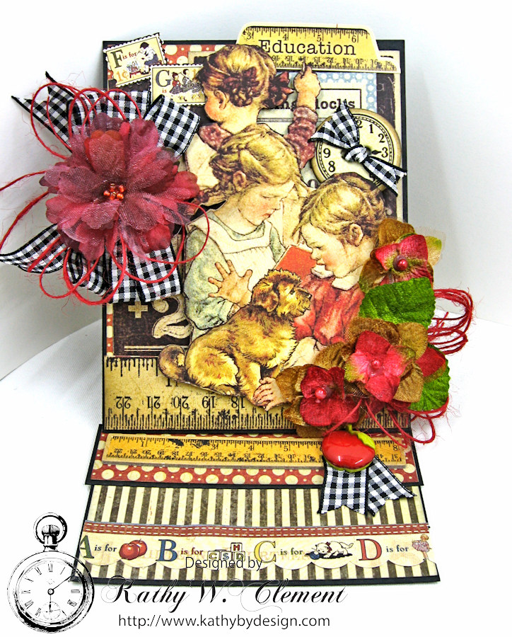 Back to School Easel Card by Kathy Clement, ABC Primer, Product by Petaloo and Graphic 45, Photo 2