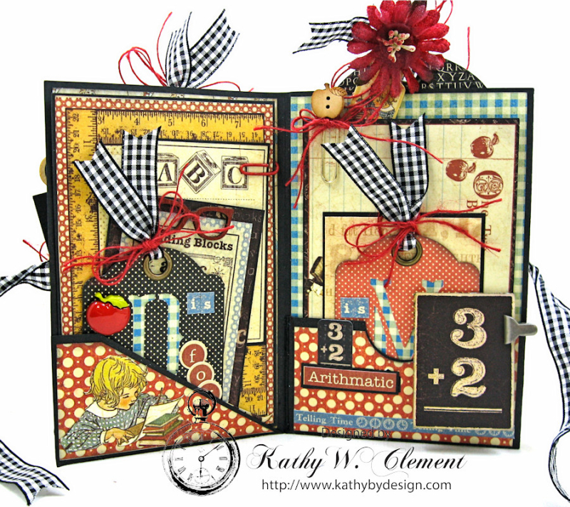 Back to School Mini Album, ABC Primer, By Kathy Clement, Product by Petaloo and Graphic 45 Photo 3