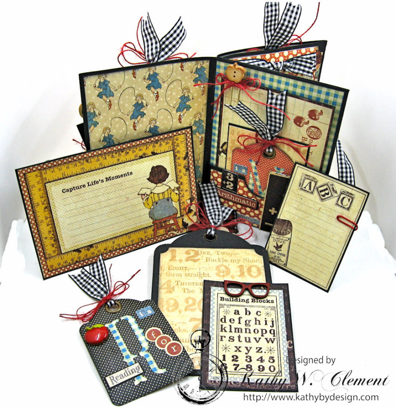 Back to School Mini Album, ABC Primer, By Kathy Clement, Product by Petaloo and Graphic 45 Photo 4