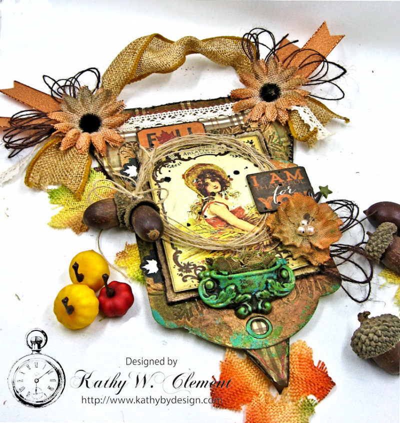 Thankful for You Fall Wall Hanging, Harvest, by Kathy Clement for Petaloo, Product by Authentique and Petaloo, Photo 2