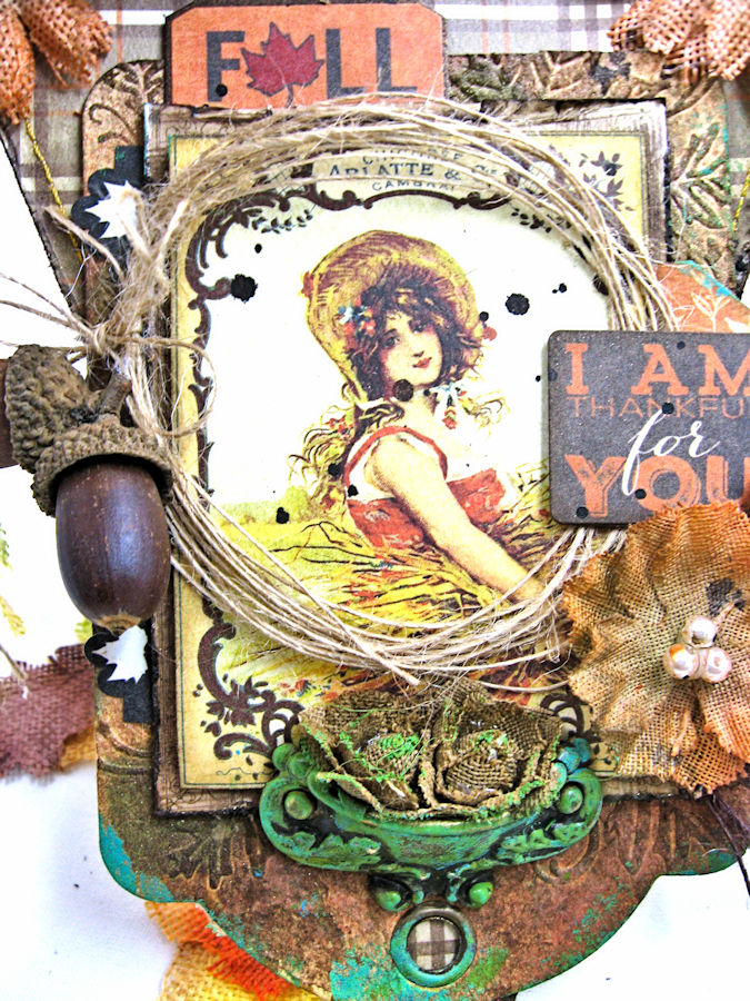 Thankful for You Fall Wall Hanging, Harvest, by Kathy Clement for Petaloo, Product by Authentique and Petaloo, Photo 4