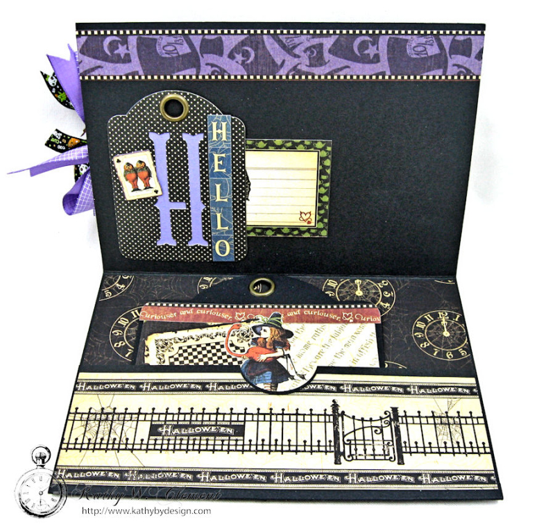 Halloween Time Card, Halloween in Wonderland, by Kathy Clement for Really Reasonable Ribbon, Product by Graphic 45, Photo 3