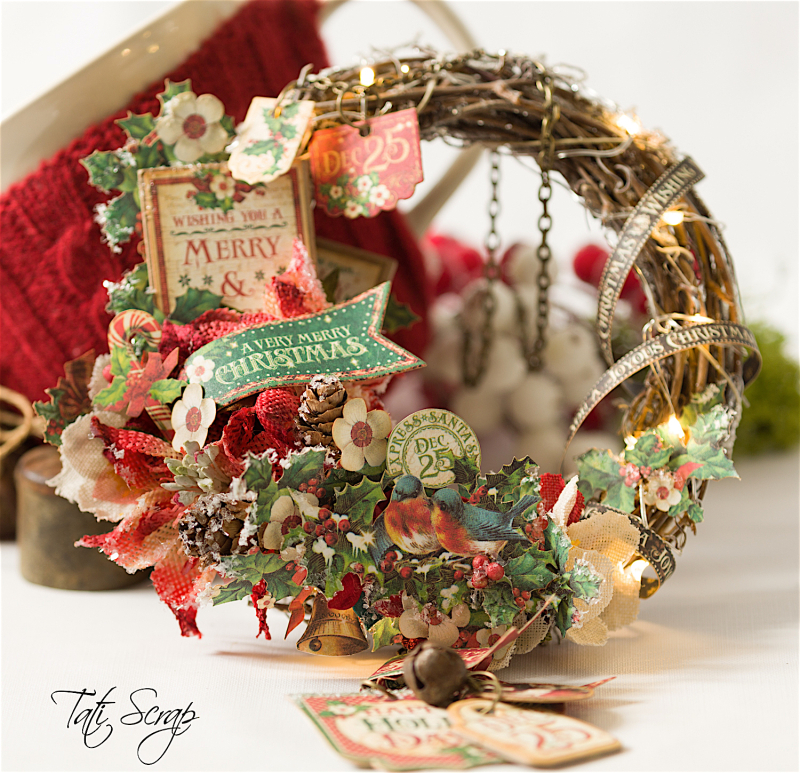 Tati, Christmas Wreath, Product by Petaloo & Graphic 45, Photo 6