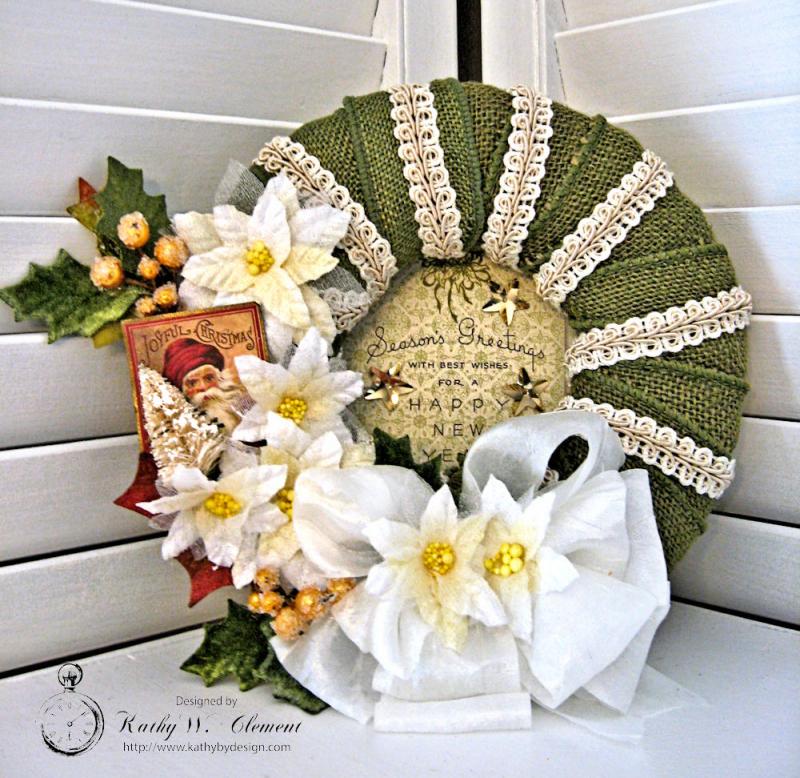 Joyful Christmas Wreath by Kathy Clement for Petaloo Authentique Blog Hop Photo 1