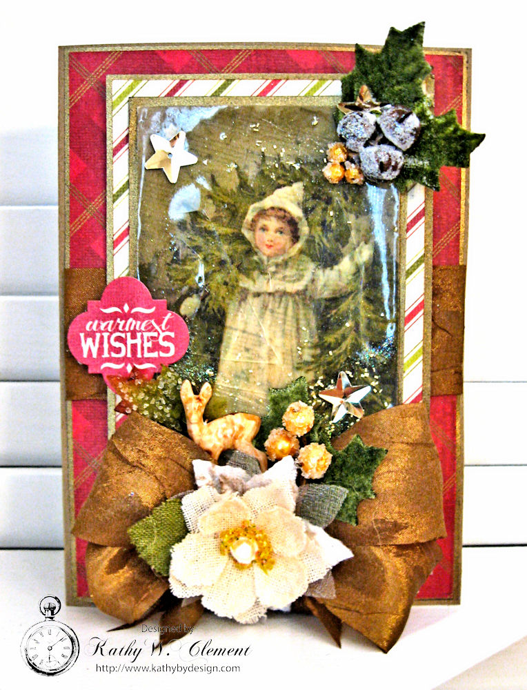 Woodland Christmas Card by Kathy Clement for Petaloo Authentique Blog Hop Photo 1