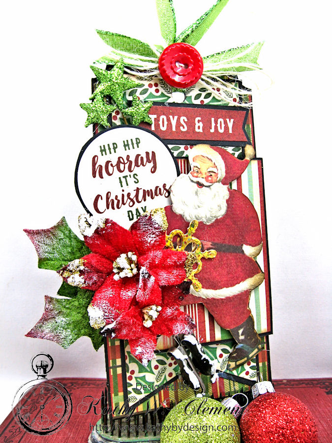 Hooray It's Christmas Day Tag, Retro Santa, by Kathy Clement, Product by Authentique and Petaloo, Photo 1