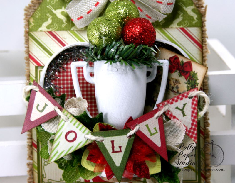 Jolly Trophy Shadow Box Christmas Tag Holiday Home Decor Polly's Paper Studio 04