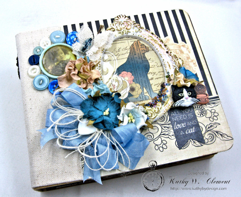 Shabby Chic Cat Mini Album by Kathy Clement Photo 1