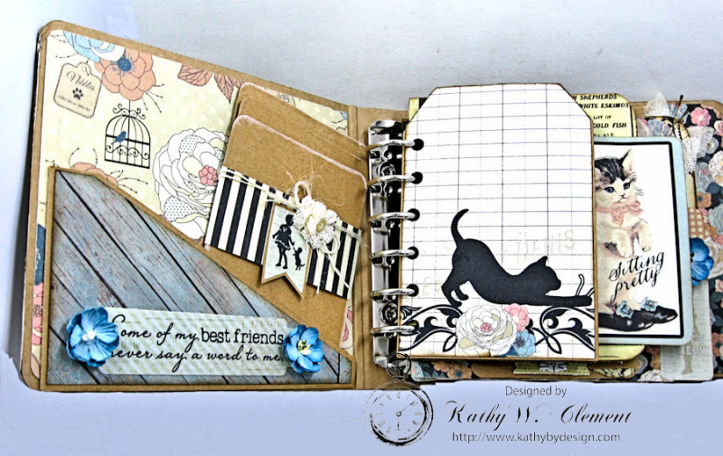 Shabby Chic Cat Mini Album by Kathy Clement Photo 7