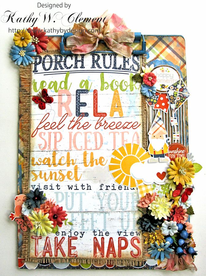 Porch Rules Altered Clipboard  by Kathy Clement Petall Simple Stories Blog Hop Bloom and Grow 03