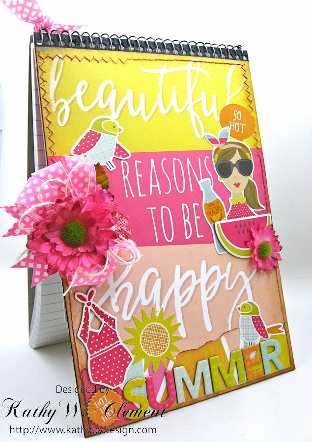 Beautiful Reasons to be Happy Alered Journall by Kathy Clement for Petaloo Summer Fun with Kids Product by Petaloo and Simple Stories Photo 2