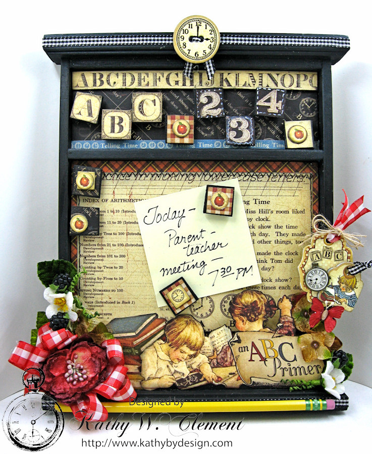 Back to School Cork Board, ABC Primer, By Kathy Clement, Product by Petaloo and Graphic 45 Photo 1
