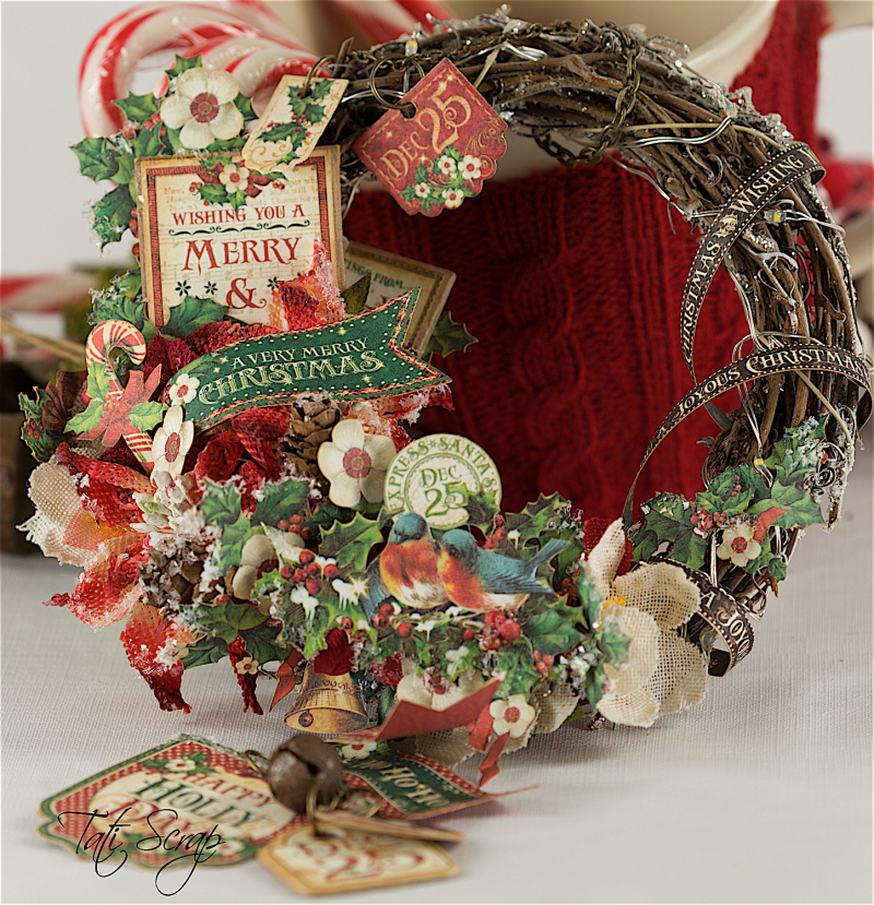 Tati, Christmas Wreath, Product by Petaloo & Graphic 45, Photo 1